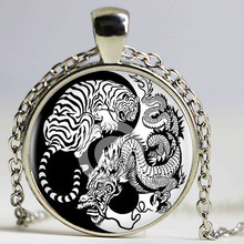 Vintage Art Yin Yang Dradon and Tiger Necklace Pendant Kolye Cabochon Black Long Chain Statement Necklace For Boys