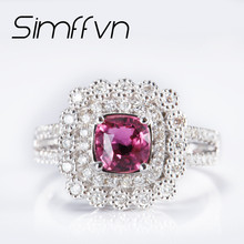 Simffvn Ring For Women 18k gold  1 CT  Ruby Certified round Cut  Wedding Engagement Ring Promise Ring