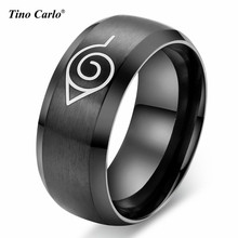 Tino Carlo 8MM Wire Drawing Black Stainless Steel Mens Ring Anime Naruto Ring Party Accessories Size 6~13 SF-025