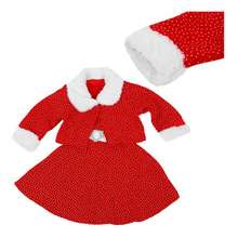 ABWE Best Sale Winter 2PCs Girls Christmas Dress Suit with Fur Collar Fashion Christmas Costume Clothing Set