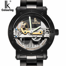 IK colouring Black Hollow Automatic Mechanical Watches Men Luxury Brand Steel strip Casual Vintage Skeleton Watch Clock relogio