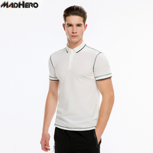 MADHERO Cotton Slim Fit Polo Shirt Men Solid Basic Short Sleeve Spandex Soft Casual Polo Shirts For Young Man Summer