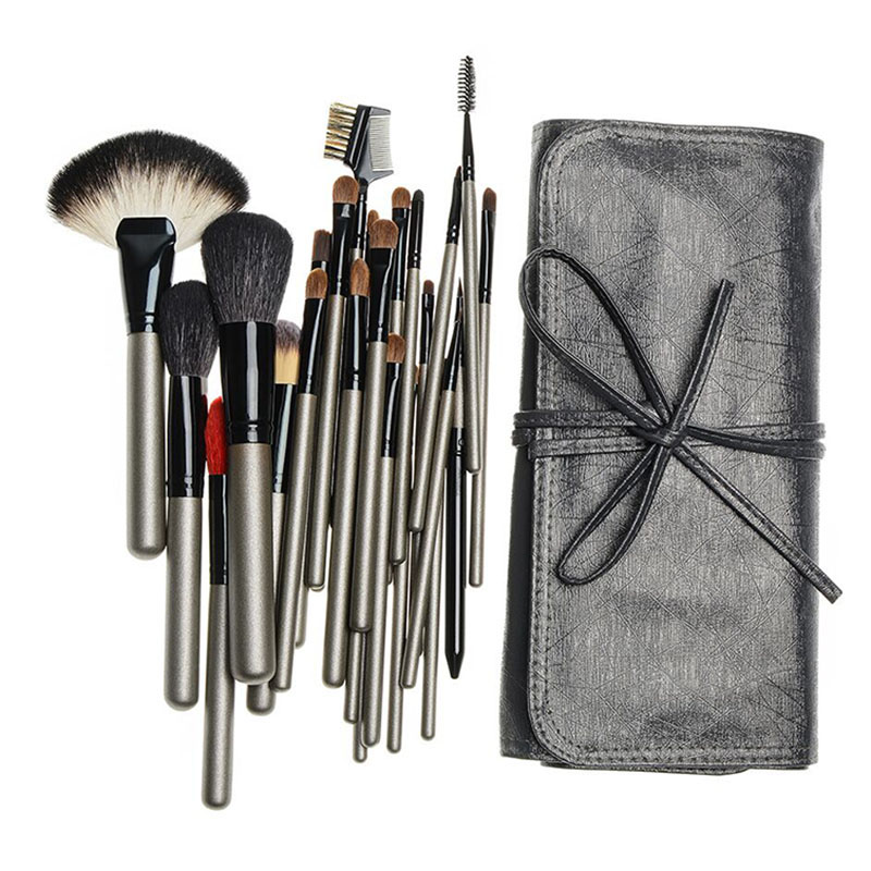 Professional 26pcs Animal Hair Makeup Brushes Set Cosmetic Foundation Powder Eyeliner Eyebrow Brush Tools with Leather Case<br>