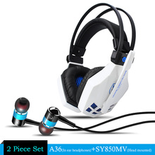 2pcs/combo SOYTO EACH Z-850 Gaming Headset Headphones with Mic + A36 Stereo Metal Earbuds Brand Blue Color Headphone Super Bass(China)