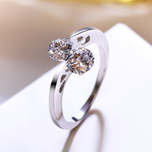Fashion White Gold Color Wedding Rings Twin Round AAA Cubic Zirconia Crystal Jewelry For Women Anel Feminino(China)