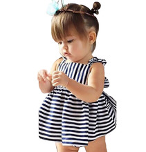 Summer Baby Girls Clothing Set Stripe Suspenders Dress + Briefs 2pcs Baby Girl Clothes Set Infant Baby Suit(China)