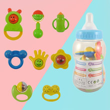Free Shipping 8 Pcs/1 Set Toy Gift Hand Shake Bell Ring Rattles Baby Giant Bottle Toys