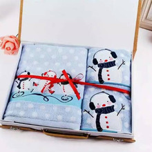 100% Cotton Light Blue Cartoon Snowman Embroidered Bath Towel Set   Gift Box Package 3PCS  Festival Gift