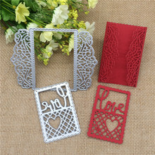 Love Heart Grid Lace Frame Rectangle  Metal Cutting Dies Stencil Scrapbooking Photo Album Card Paper Embossing Craft DIY