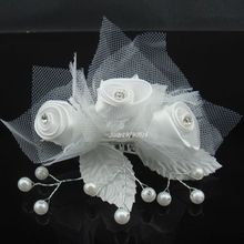 New Elegant Bridal Silk Flower Crystal Pearl Headpiece Wedding Hair Comb Party  Prom Hair Clip Free Shipping