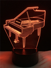 3D Lamp Piano RGB Changeable Mood Lamp Cheap Girls Christmas Holiday/Birthday Lights(China)