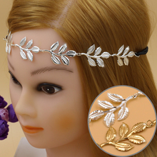 12pcs/lot new design Alloy Leaf Leaves Grecian Garland Forehead Head Hair Band Headband Gold Olive Branch Accessory High Quality