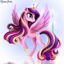 Princess Pony Diamond Painting Cross Stitch Diamond Embroidery 5D Diy Cartoon Diamond Mosaic Picture Rhinestones Full Gift Resin(China)