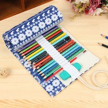 National Print Canvas Cotton Pencil Case 36/48/72 Holes Roll Large Pen Bag Penalty School Pencilcase Pouch Stationery Supplies