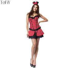 TaFiY Minnie Mouse Halloween Costumes for Women Sexy Minnie Mouse Costume Cosplay Sexy Fantasy Party Club Cosplay Role Costumes