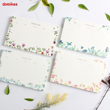 New cute desk weekly planner agenda memo pad, fine student school desk time planner note pad stationery  thick, 4 colors A5