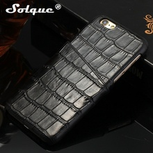 Solque Real Genuine Leather Cow Skin Slim Case For iPhone 8 Plus Cell Phone Card Holder Cover Cases Luxury 3D Crocodile Design(China)