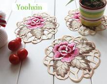HOT embroidery table place mat pad cloth pot cup holder round coaster Christmas dining placemat mug glass drink doily kitchen