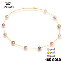 Pearl Necklace Pendant 18k Pure Gold Women girl gift Natural pearl Chain Solid 2017 New Hot Sell Trendy Party discount wholesale(China)