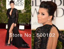70th Golden Globes Awards Eva Longoria Red Carpet Dresses Sexy Long Sleeves Lace Key Hole Gowns