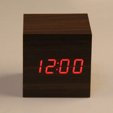 100pcsWooden Cube LED Alarm Clock Sounds Control With Temperature Display Electronic Digital Desktop Table Clocks Red LED