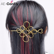 Fashion Chinese knot Hair Stick Gold Silver Color Hollow Hear Hairpins Clips Women Hair Accessories  HG431