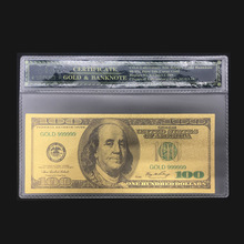 Best Selling Product For America Banknotes 100 Dollars in 24K Gold Paper Money With COA Frame For Collection And Gift(China)