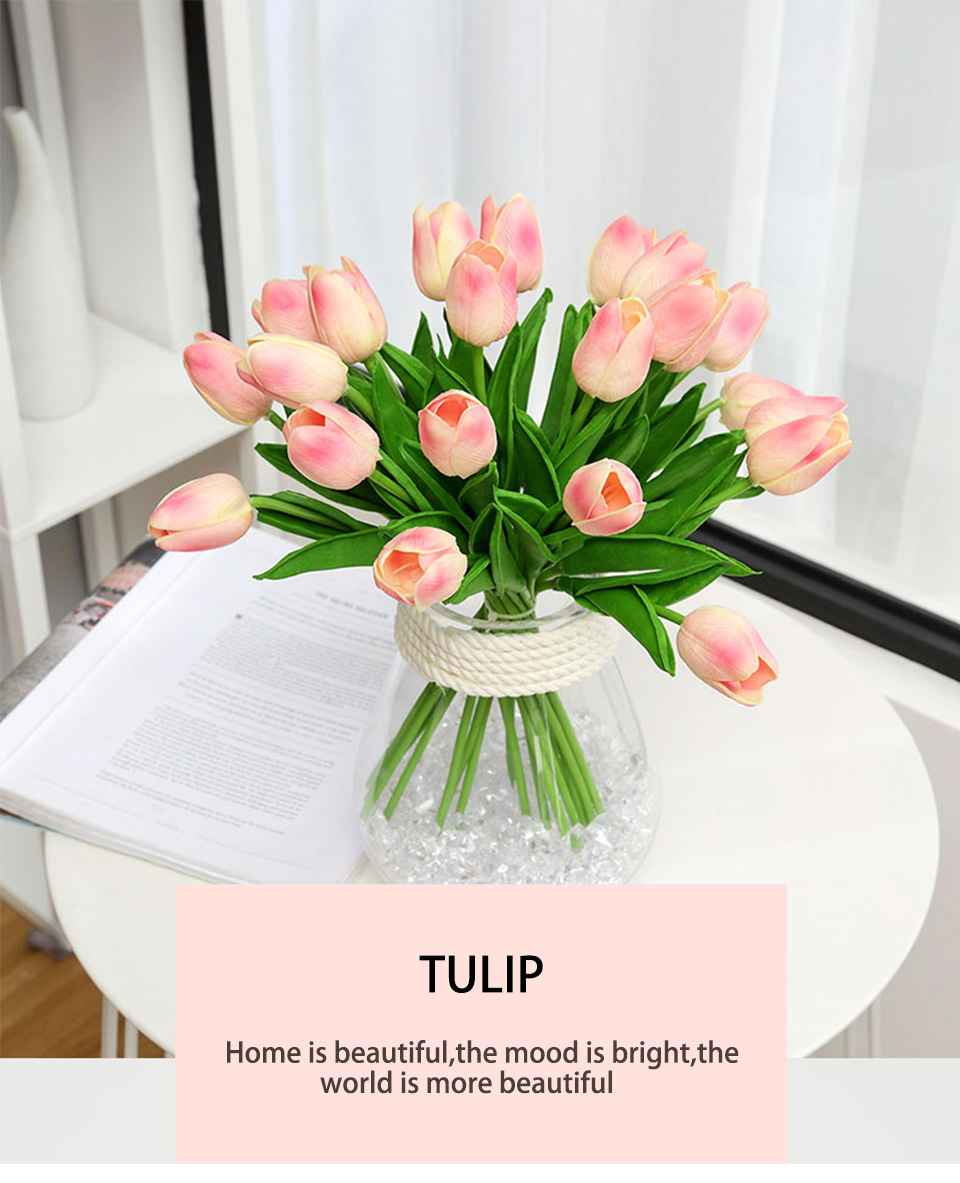 1pc PU Tulip Artificial Flowers Mini Tulip Flower Real Touch Wedding 10 Colors Fake Flowers Tulips For Home Decoration_01