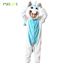 2017 Kids pajamas warm pyjama children's unicorn pajamas for girls boys cartoon sleepwear child animal cosplay costume onesie