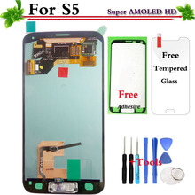 100% Tested Super AMOLED LCD Replacement For Samsung GALAXY S5 G900 G900F LCD Display Touch Screen Digitizer Assembly(China)