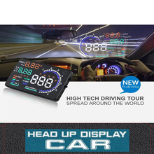A8 5.5inch OBD II Car HUD Head Up Display Auto Window Reflective Screen Projector Speed Fatigue Warning RPM MPH Fuel Consumption