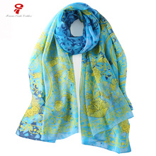 scarf  100% mulberry natural silk Long Scarf women Spring Autumn Female Flower Big Shawls Summer Beach Cover-ups Floral wrap