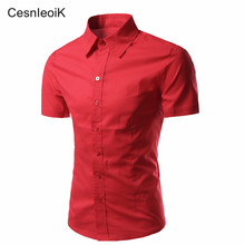 Plus Size Shirts Fashion Brand Mens 100% Cotton Shirt short Sleeve Camisa Masculina Men's Clothing Casual Thin Dress Shirts