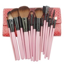 Professional Cosmetic Makeup Brush Set Eyelashes Extension Blending Brushes Shadow Highlighter Brush Pincel Sombra Pink Leather(China)
