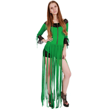 Wonder beauty long sleeve green body long Tassel black lace edge bodycon playsuit sexy lady club party jumpsuit bodysuit catsuit(China)
