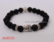 Wholesale new design silver plated Buddha disco ball Bracelet  Semi-Precious stone yoga Jewerly bracelets with free shipping