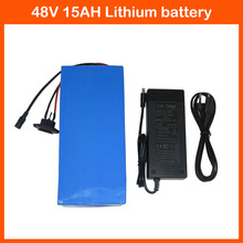 Hot sale 48V 15AH Electric Bike battery 48V 15AH Lithium ion battery with PVC case 15A BMS 54.6V 2A charger Free shipping