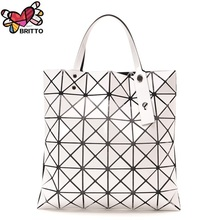 Japanese style Diamond Woman Handbag  Plaid bag Tote Geometry Sequins Saser Plain Folding Briefcase Shoulder Bolso
