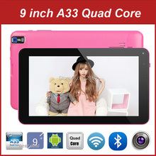 High Quality 2015 New 9 Inch Tablet PC Android 4.4 Allwinner A33 Quad Core RAM DDR3 512M 8G ROM Bluetooth, 20pcs/lot DHL Free(China)