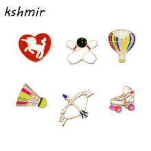 kshmir brooch The movement style Hot air balloon bow and arrow badminton drip brooch brooch badges