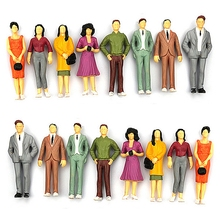 Nice 100PCS 1:100/75/150 Resin Building Layout Model People HO Scale Painted Figure Passenger Model Human(China)