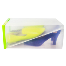 Brand New Double Layer Colorful Plastic Shoe Box Transparent Crystal Storage Shoebox 5 Colors for Household Home Use 33*23*14(China)