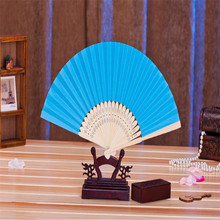 Free shipping 11pcs/lot bamboo frame blue paper folding fan wedding gift hand fan