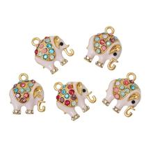 "DoreenBeads Charm Pendants Elephant Gold color Pink Multicolor Rhinestone Enamel 18mm( 6/8"") x 15mm( 5/8""), 5 PCs(China)"