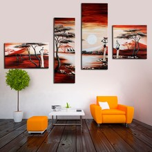 4 Pcs/Set No Framed Handpainted Modern Abstract African Women Painting On Canvas Oil Paintings Exquisite Gift Wall Pictures Art