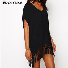 New Arrivals Beach Cover up White Chiffon Tassel Swimwear Ladies Walk on The Beach Sexy Beach Cover up Praia Beach Wear #Q10(China)