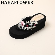 HAHAFLOWER cute kitty thong slippers full Crystal diamond shiny beach shoes women flip flops glittering wedge sandals