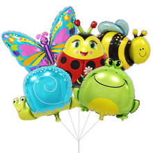 10pcs/lot Bee & snails & butterfly & Frog & & Ladybug Animals shaped Air foil Balloons birthday party suppies children's toys(China)