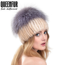 QUEENFUR Women Real Knitted Mink Fur Beanies With Silver Fox Fur Large Pom Poms Tops Hat Female Fashion Elegant Hat With Lining