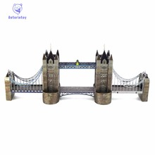 Hot Sale World Famous Building 3D color Metal Puzzles London Tower Bridge  House Metal Earth Jigsaw Puzzle For Adult/Kids